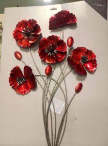 3d Motif bouquet de coquelicots murale en métal à suspendre Art Home Decor Floral Motif fleur Rouge Cadeau NEUF de la marque metal homedecor image 0 produit