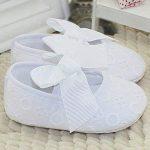 Aivtalk Chaussures Premier Pas Bébé Fille Chaussons Antidérapant Souple Chaussure pour Nouveau Né Noeud pour Mariage Bapteme 0-18 Mois Blanc de la marque Aivtalk image 3 produit