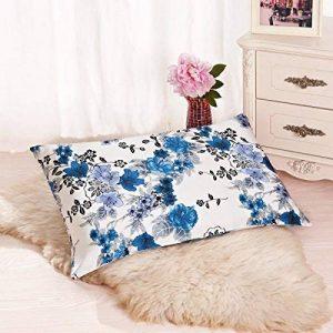 Alaska Bear – Taie d'oreiller en soie naturelle, hypoallergénique, 19 Momme, 600 fils 100% soie naturelle de mûrier, 50 x 66 cm avec la fermeture Éclair dissimulée, Orchidée Bleu de la marque ALASKA BEAR image 0 produit