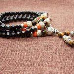COAI 6mm Bracelet Mala Collier de Prière Bouddhiste Obsidienne Noire Œil de tigre Jaune 6*8mm Graines de Bodhi Unisexe de la marque coai image 4 produit