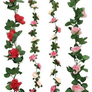 Cocodeko Lot de 4artificielle Rose soie fleur avec feuille verte Vine Plastique à suspendre Vine Guirlande Couronne Flora artificielle pour maison cour Clôture Décoration de jardin de mariage de la marque Cocodeko image 0 produit