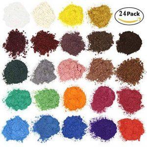 Colorant de savon - Pigments de poudre de mica pour la bombe de bain - Colorant de fabrication de savon - 24 belles couleurs (5g) - fabrication de bougie, ombre à paupières, fard à joues, art de clou, bijoux de résine, artiste, projets d'artisanat de la m image 0 produit