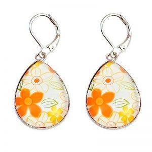 Créative Perles - Boucles d'oreilles Cabochon goutte fleurs vintage - Orange de la marque Créative Perles image 0 produit