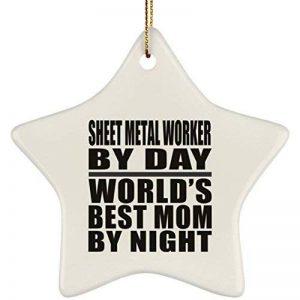 Designsify Mom Ornement, feuilles de métal Travailleur par jour World's Best Mom by night–en céramique étoile Ornement, arbre de Noël Décor, Meilleur Cadeau pour maman, maman, son, Parent à partir de fille, fils, Kid, Mari de la marque Designsify image 0 produit