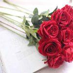 Fleurs Artificielles,Deco Bouquet de Fausse Fleur Roses en Soie Avec Vrai Contact Bouquet de Mariage pour fête de Jardin à la Maison Décor Floral Rouge de 10 Pièces de la marque Chunqi image 4 produit