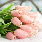 Fleurs Artificielles Deco Bouquet de Fausse Fleur,Tulipe en Soie Avec Vrai Contact Bouquet de Mariage pour fête de Jardin à la Maison Décor Floral de 12 Pièces de la marque Chunqi image 1 produit