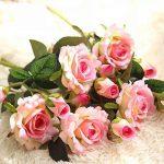 Fleurs Artificielles,Fleur Plastique Fausse Fleur Roses 9 Chefs en Soie Bouquet Mariage pour fête de Jardin à la Maison Décor(rose-blanc) de la marque gemdragon image 6 produit