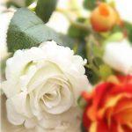 Fleurs Artificielles,Fleur Plastique Fausse Fleur Roses 9 Chefs en Soie Bouquet Mariage pour fête de Jardin à la Maison Décor(rose-blanc) de la marque gemdragon image 2 produit
