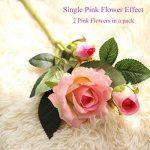 Fleurs Artificielles,Fleur Plastique Fausse Fleur Roses 9 Chefs en Soie Bouquet Mariage pour fête de Jardin à la Maison Décor(rose-blanc) de la marque gemdragon image 3 produit