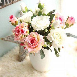 Fleurs Artificielles,Fleur Plastique Fausse Fleur Roses 9 Chefs en Soie Bouquet Mariage pour fête de Jardin à la Maison Décor(rose-blanc) de la marque gemdragon image 0 produit