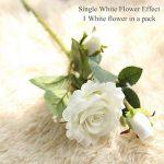 Fleurs Artificielles,Fleur Plastique Fausse Fleur Roses 9 Chefs en Soie Bouquet Mariage pour fête de Jardin à la Maison Décor(rose-blanc) de la marque gemdragon image 4 produit