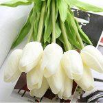 Fleurs Artificielles,Fleur Plastique Fausse Fleur Tulipe de soie Bouquet Mariage pour fête de Jardin à la Maison Décor 10 pcs (blanc) de la marque Chunqi image 5 produit