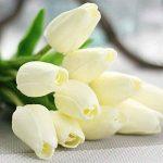 Fleurs Artificielles,Fleur Plastique Fausse Fleur Tulipe de soie Bouquet Mariage pour fête de Jardin à la Maison Décor 10 pcs (blanc) de la marque Chunqi image 1 produit