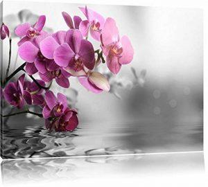 fleurs d'orchidées sur l'eau noir / blanc Taille: 60x40 sur toile, énorme XXL Photos complètement encadrées avec civière, art impression sur murale avec cadre, moins cher que la peinture ou la peinture à l'huile, aucune affiche ou un poster de la marque P image 0 produit