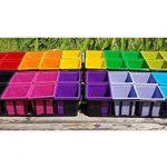Godets pour semis colorés (x40) de 8x8x7 cm et 4 Clayettes noires de 40x16,5x7 cm (Lxlxh) - Pots en plastiques pour la culture d'extérieur de jeunes pousses, plantes, herbes aromatiques et fleurs. de la marque L'Atelier des Pléiades image 1 produit