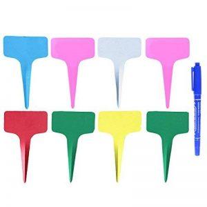 Gosear® Étiquettes de Plante, Gosear 100 Pièces Etiquettes en Plastique Jardin+ Bleu Stylo marqueur,T-Shape plugs Semis Etiquette de la marque Gosear image 0 produit