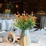 HUAESIN 4pcs Bouquet Fleur Artificielle Fausse Fleur Noix de Pin Plante Plastique pour table à manger jardin mariage maison restaurant intérieur extérieur,Orange de la marque HUAESIN image 1 produit