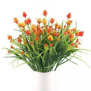 HUAESIN 4pcs Bouquet Fleur Artificielle Fausse Fleur Noix de Pin Plante Plastique pour table à manger jardin mariage maison restaurant intérieur extérieur,Orange de la marque HUAESIN image 0 produit