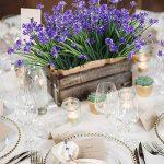 HUAESIN 4pcs Bouquet Fleur Artificielle Fausse Herbe Floral du Printemp Plante Plastique pour table à manger jardin mariage maison restaurant intérieur extérieur,Violet de la marque HUAESIN image 2 produit