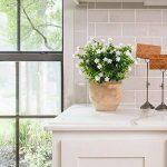 HUAESIN 4pcs Bouquet Herbe Floral Fausse Fleur Eucalyptus Rond Plante Plastique pour table à manger jardin mariage maison restaurant intérieur extérieur, Blanche de la marque HUAESIN image 1 produit