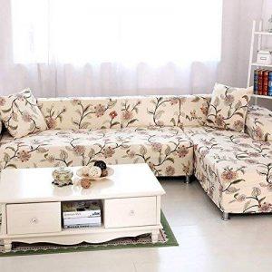 HYSENM 1/2/3/4 Places Housse de Canapé Fauteuil Couvre Sofa Modal Extensible Elastique Campagne Doux Meubles Maison, beige fleur 3 places(190-230cm) de la marque HYSENM image 0 produit