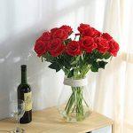 JUSTOYOU 10 roses en soie pour bouquets artificiels, décoration d'intérieur, au bureau, ou pour des compositions de mariage de la marque JUSTOYOU image 1 produit