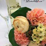 Live with Love Fleur artificielle Plante Fleur en soie Real Touch Fleur Lovely Camélia Carnation Hortensia Bouquet Composition florale, parfait pour un mariage, mariage, fête, décoration de la maison, au bureau, cadeau, DIY, champagne de la marque Live wi image 1 produit