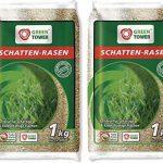 Lot de deux sachets de graines de gazon / Semences de gazon spécial ombre idéal pour faire pousser la pelouse sur des zones ombragées (1kg pour une surface d'herbe d'environs 40m²) de la marque Greentower image 1 produit