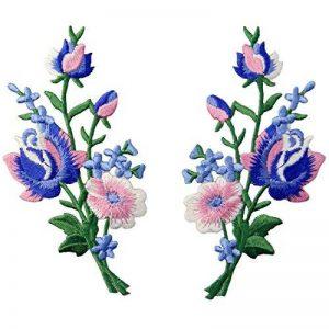 Patch brodé en forme de Fleurs rétro, Bouquet Boho Rose, à coudre ou à coller avec fer à repasser, Rose Bleu de la marque ZEGIN image 0 produit