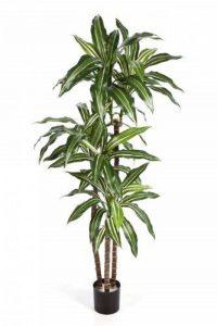 Plante vivace Dracaena Fragrans artificiel en pot, 80 feuilles, vert-blanc, 120 cm - dracaena plastique - artplants de la marque artplants image 0 produit