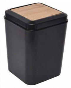 Poubelle pour Salle de Bain, WC ou Cuisine - Design NOIR et BAMBOU - Style PHUKET. de la marque TENDANCE image 0 produit