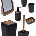 Poubelle pour Salle de Bain, WC ou Cuisine - Design NOIR et BAMBOU - Style PHUKET. de la marque TENDANCE image 4 produit