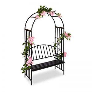 Relaxdays Arche à Roses pour Jardin avec Banc 2 Métal en Métal Arceau Colonne Décoration HxlxP: 205 x 115 x 50 cm, Noir de la marque Relaxdays image 0 produit