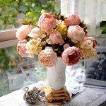 RICISUNG Bouquet de pivoines artificielles en soie Décoration pour fêtes de mariage Festival Noël de la marque DDU image 1 produit