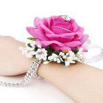 SAIANKE velours ouverte Rose Silvery Bling ruban Strass Bracelet élastique Mariage/Bouquet pour poignet à la main Fleur, Velours, rose rouge, Taille unique de la marque SAIANKE image 1 produit