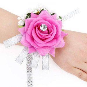 SAIANKE velours ouverte Rose Silvery Bling ruban Strass Bracelet élastique Mariage/Bouquet pour poignet à la main Fleur, Velours, rose rouge, Taille unique de la marque SAIANKE image 0 produit