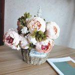 SHINE-CO Bouquet de Fleurs Artificielles de Pivoine en Soie Attirante pour les fêtes et le Mariage à la Maison, au Bureau (Rose Clair) de la marque SHINE-CO image 3 produit