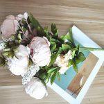 SHINE-CO Bouquet de Fleurs Artificielles de Pivoine en Soie Attirante pour les fêtes et le Mariage à la Maison, au Bureau (Rose Clair) de la marque SHINE-CO image 4 produit