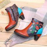 Socofy Bottes Femme, Bottines en Cuir A Talon Haut Boots Chaussures de Ville Mustang Hiver Printemps, Design Original à style ethnique - Marron Rouge Bleu de la marque Socofy image 3 produit