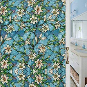 VELIMAX Film Electrostatique Décoratif pour Vitre Design de Orchidée Couleur Bleu Autocollant pour Maison Salle de Bain Cuisine Chambre 40cm x 200cm de la marque VELIMAX image 0 produit