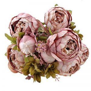 Weksi® Bouquet de Pivoine Artificielle Fleurs, Parfait pour le Mariage, Nuptiale, Partie, Bureau Décor Bricolag (Vieux Rose) de la marque WEKSI INC image 0 produit