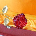 ZJchao Cristal Rose, Rose Eternelle, Rose Fleur avec 24k Plaqué Or Longue Tige dans Boîte-Cadeau , Cadeaux Elégant de la Saint Valentin, la Fête, la Noël, Anniversaire pour Femme et Fille (Rouge) de la marque ZJchao image 4 produit